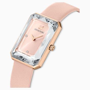 Uptown 手錶, 真皮錶帶, 粉紅色, 玫瑰金色調PVD - Swarovski, 5547719
