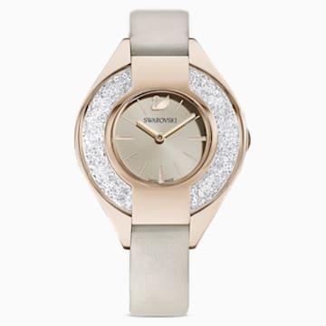 Orologio Crystalline Sporty, cinturino in pelle, grigio, PVD tonalità oro champagne - Swarovski, 5547976