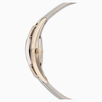 Crystalline Sporty 腕表, 真皮表带, 灰色, 香槟金色调 PVD - Swarovski, 5547976