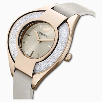 Crystalline Sporty Часы, Кожаный ремешок, Серый Кристалл, PVD-покрытие золотого цвета оттенка шампанского - Swarovski, 5547976