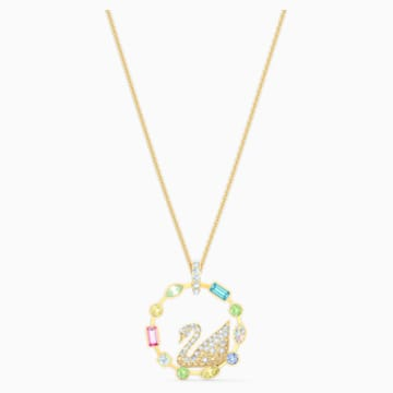Rainbow Swan Necklace, Multicolored, Gold-tone plated - Swarovski, 5549050
