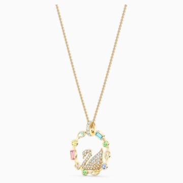 Rainbow Swan Necklace, Gold-tone plated - Swarovski, 5549050