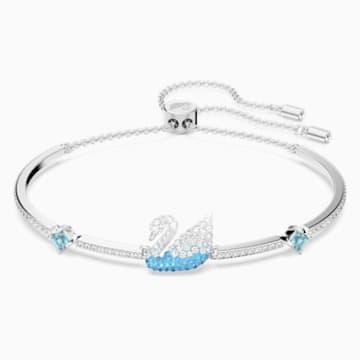 Bracelet-jonc Iconic Swan, bleu, métal rhodié - Swarovski, 5549312