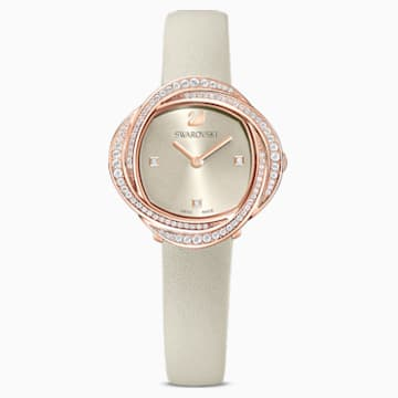 Crystal Flower Watch, Leather strap, Grey, Rose-gold tone PVD - Swarovski, 5552424