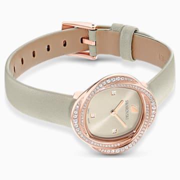 Ceas Floare de cristal, curea din piele, gri, nuanță aur roz aplicată prin depunere fizică de vapori - Swarovski, 5552424