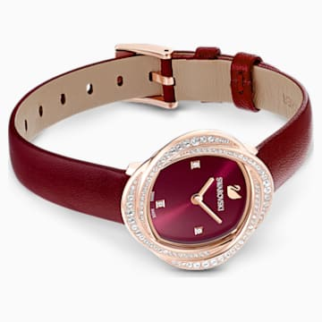 Crystal Flower-horloge, Leren horlogebandje, Rood, Roségoudkleurig PVD - Swarovski, 5552780