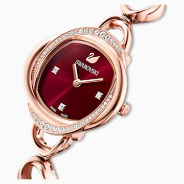 Crystal Flower óra, fém karkötő, piros, rozéarany árnyalatú PVD - Swarovski, 5552783
