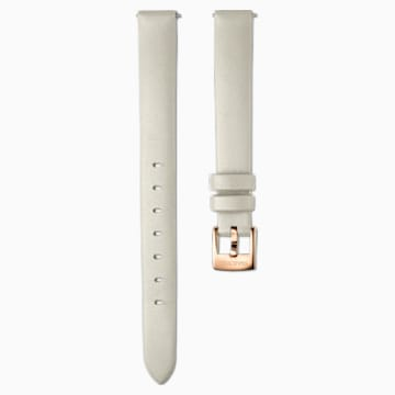 12mm Watch strap, Leather, Taupe, Rose-gold tone PVD - Swarovski, 5553219