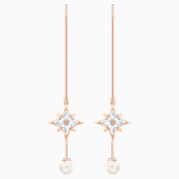 Pendientes de cadena Swarovski Symbolic, blanco, Baño en tono Oro Rosa - Swarovski, 5555432