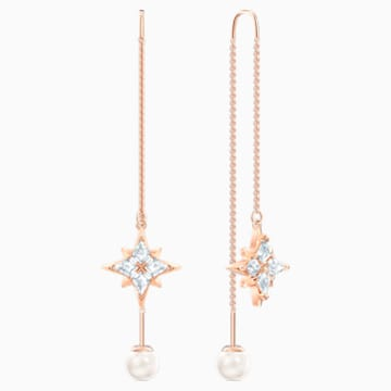 Swarovski Symbolic Chain Pierced Earrings, White, Rose-gold tone plated - Swarovski, 5555432