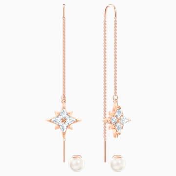 Swarovski Symbolic Chain 穿孔耳環, 白色, 鍍玫瑰金色調 - Swarovski, 5555432