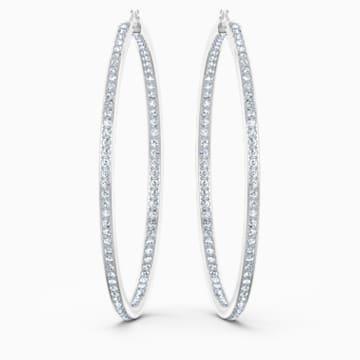 Rare Hoop Pierced Earrings, White, Rhodium plated - Swarovski, 5555724
