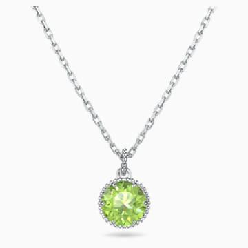 Wisiorek z kamieniem przypisanym do miesiąca urodzin, sierpień, zielony, powlekany rodem - Swarovski, 5555790