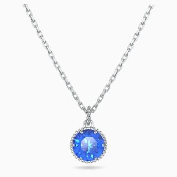 Wisiorek z kamieniem przypisanym do miesiąca urodzin, wrzesień, niebieski, powlekany rodem - Swarovski, 5555793