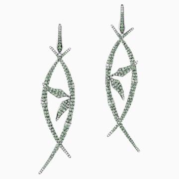 Bamboo Shoots Long Drop Earrings, Green Swarovski Created Sapphires, 18K White Gold - Swarovski, 5555896