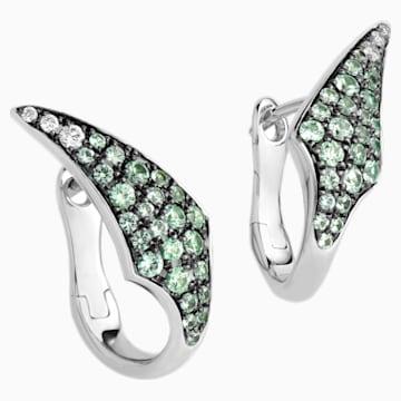 Bamboo Shoots Stud Earrings, Green Swarovski Created Sapphires, 18K White Gold - Swarovski, 5555897