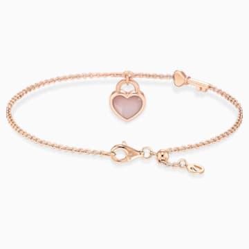 18KR Dia Love Lock II Heart Key Bracelet - Swarovski, 5555950