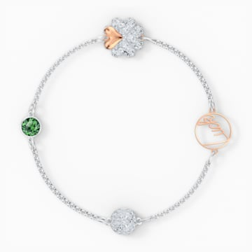 Swarovski Remix Collection Clover Strand, grün, Metallmix - Swarovski, 5556901