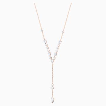 Attract Y形項鏈, 白色, 鍍玫瑰金色調 - Swarovski, 5556911