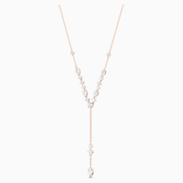 Collar en Y Attract, blanco, baño tono oro rosa - Swarovski, 5556911
