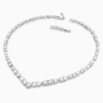 Collar en V Tennis Deluxe Mixed, blanco, baño de rodio - Swarovski, 5556917