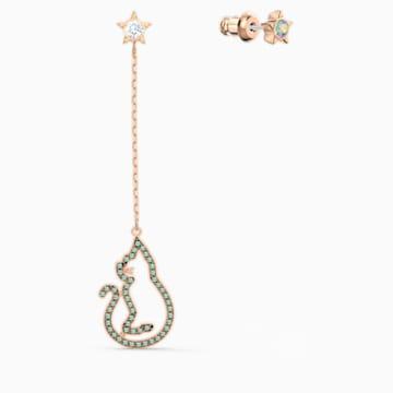 Cattitude 穿孔耳环, 绿色, 镀玫瑰金色调 - Swarovski, 5558174
