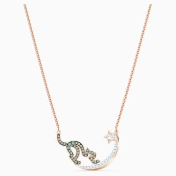 Cattitude 项链, 绿色, 多种金属润饰 - Swarovski, 5558175