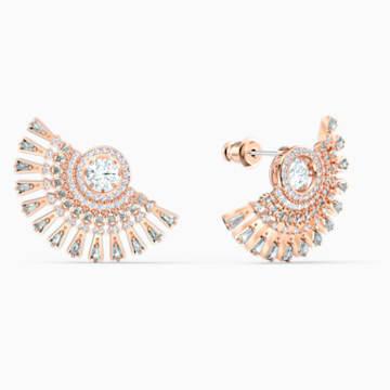 Boucles d'oreilles Swarovski Sparkling Dance Dial Up, gris, métal doré rose - Swarovski, 5558190