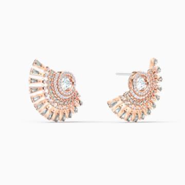Cercei cu șurub Swarovski Sparkling Dance Dial Up, gri, placați cu nuanță aur roz - Swarovski, 5558190