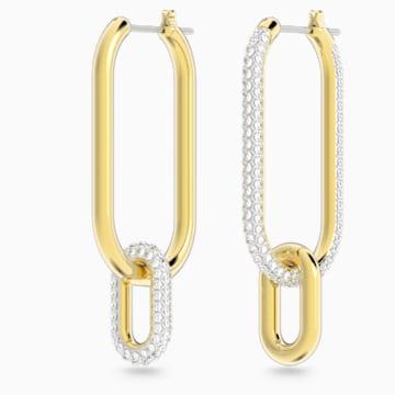 Time 穿孔耳環, 白色, 多種金屬潤飾 - Swarovski, 5558341