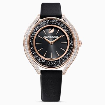 Ceas Crystalline Aura, curea din piele, negru, nuanțe de aur roz obținute prin depunere fizică de vapori - Swarovski, 5558634