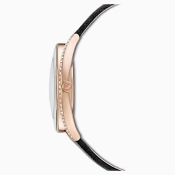 Hodinky Crystalline Aura, s koženým páskem, černé, PVD v odstínu růžového zlata - Swarovski, 5558634