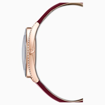 Zegarek Crystalline Aura, pasek ze skóry, czerwony, powłoka PVD w odcieniu różowego złota - Swarovski, 5558637