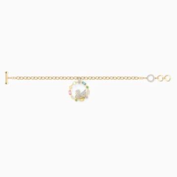 Rainbow Swan 手链, 镀金色调 - Swarovski, 5559304