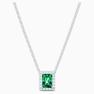 Collar Angelic Rectangular, verde, baño de rodio - Swarovski, 5559380