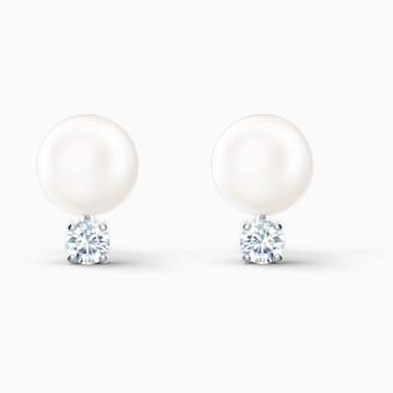 Treasure Pearl Ohrringe, weiss, rhodiniert - Swarovski, 5559420
