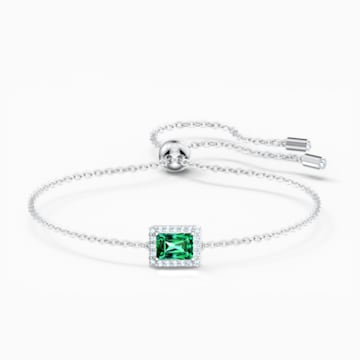 Pulsera Angelic Rectangular, verde, baño de rodio - Swarovski, 5559836