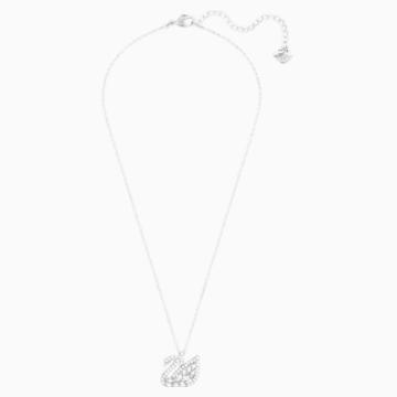 Swan Lake Pendant, White, Rhodium plated - Swarovski, 5561477