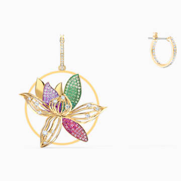 Togetherness Hoop Pierced Earrings, Multicolored, Gold-tone plated - Swarovski, 5561601