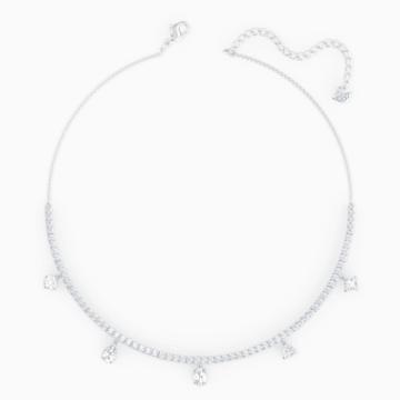 Tennis Deluxe Mixed Halsband, weiss, rhodiniert - Swarovski, 5562084