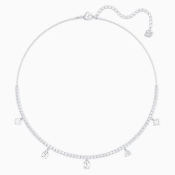 Tennis Deluxe gemengde choker, Wit, Rodium-verguld - Swarovski, 5562084