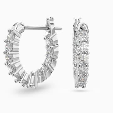 Vittore Mini Hoop Pierced Earrings, White, Rhodium plated - Swarovski, 5562126