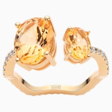 Arc-en-ciel Ring, Honey Topaz, 18K Yellow Gold, Size 58 - Swarovski, 5562502