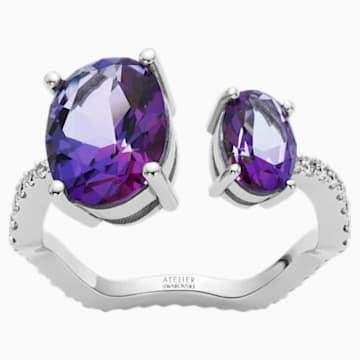 Arc-en-ciel Ring, Violac Topaz, 18K White Gold, Size 58 - Swarovski, 5562503