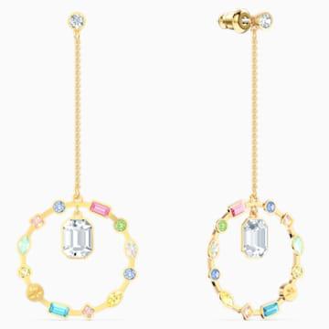 Rainbow Swan Chain 穿孔耳环, 镀金色调 - Swarovski, 5562897