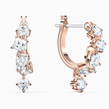 Attract 穿孔耳环, 白色, 镀玫瑰金色调 - Swarovski, 5563118