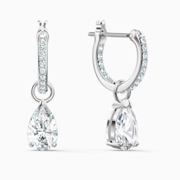 Attract Pear Mini 穿孔耳环, 白色, 镀铑 - Swarovski, 5563119