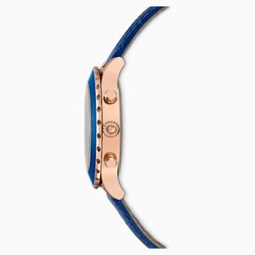 Montre Octea Lux Chrono, bracelet en cuir, bleu, PVD doré rose - Swarovski, 5563480