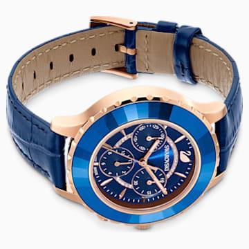 Ceas Octea Lux Chrono, curea din piele, albastru, nuanță aur roz aplicată prin depunere fizică de vapori - Swarovski, 5563480