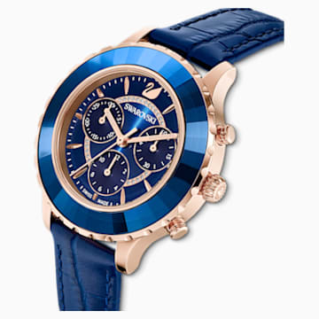 Octea Lux Chrono Saat, Deri kayış, Mavi, Pembe altın rengi PVD - Swarovski, 5563480